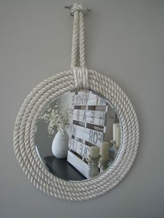 10 Diy Cool Mirror Ideas - Frame Mirror made out of ropes…