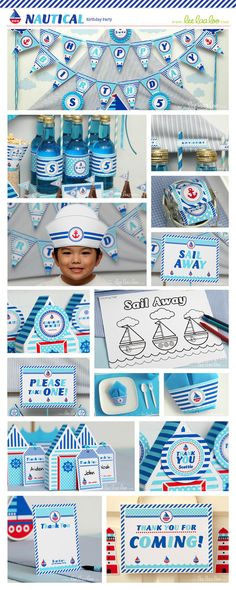 Nautical Birthday Party Package Collection Set Mega by LeeLaaLoo, $35.00