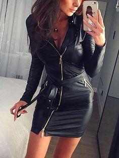 Skinny Zipper Bowtie Tied Mini Dress