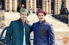 Kurta set from in Hyderabad - specializes in sherwanis, kurtas, and Indo-western accessories for men Fashion Art, Mens Fashion, Fashion Outfits, Blue Sherwani, Mens Clothing Styles, Men's Clothing, History Books, Art And Architecture, Head Coverings