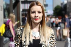 Amy Shipp's ombre blonde locks, scarlet lips, porcelain skin and bold necklace on Nicey Turned Out. Click pic for more... #streetstyle #fashion #hair #ombre