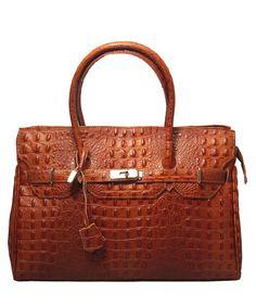 Gloria cognac embossed leather tote bag by Leonardo Farnesi on secretsales.com