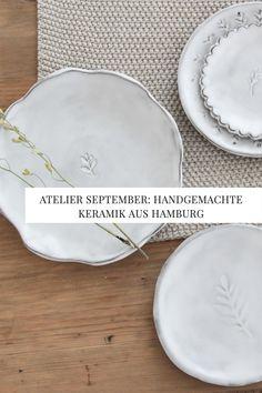Lena Westphal vom Atelier September verleiht ihrer Keramik durch zarte botanische Motive eine ganz besondere Optik. September, Plates, Ceramics, Lady, Tableware, Blog, Handmade, Products, Fimo