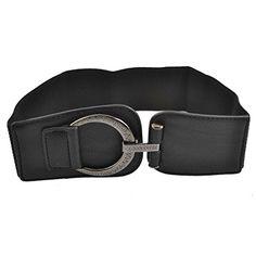 LUQUAN Woman Hook Buckle Faux Leather Elastic 6Cm Wide Band Belt Black