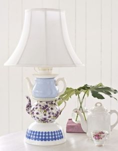 Lamp stand made from china tea cups and bowls