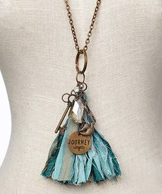 Another great find on #zulily! Blue & Bronze 'Journey' Tassel Pendant Necklace #zulilyfinds