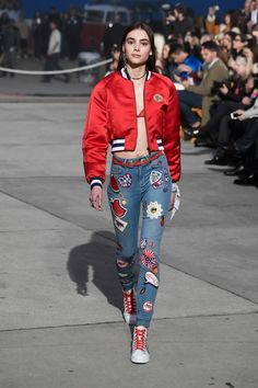 Romy Schonberger rocks the runway in a cropped bomber from #TOMMYXGIGI