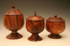 Hawaiian Koa wood. Lidded bowls, Hawaiian form.,matching lids with grain.