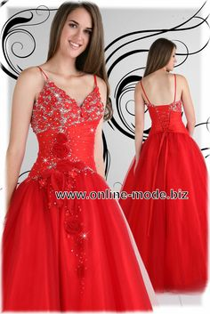 Spaghettiträger Abendkleid Ballkleid in Rot von www.online-mode.biz