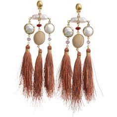 GAS BIJOUX Bellavista Chandelier Fringe Earrings ($275) ❤ liked on Polyvore featuring jewelry, earrings, brown, tassle earrings, brown earrings, fringe earrings, beaded tassel earrings and wooden earrings