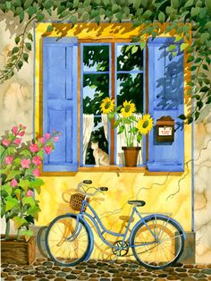 French Provence Home With Bicycle Window by RobinWetheAltman, $49.00
