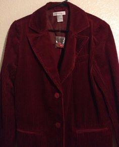 Newport News Jacket Womens 6 Red Maroon Corduroy Blazer  #NewportNews #BasicJacket