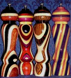 Exotic Wood Pepper Mills, Wooden Salt and Pepper Shakers, Like Sara Moulton's Cool PepperMills, Unique, Hand Made, Hand Crafted