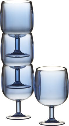 Stacking Blue Acrylic Wine Glasses | Crate and Barrel