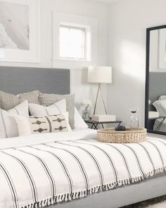 Blue Bedroom Ideas - Set light blue walls with a bright silver declaration item for a terrific unified appearance. Brighten up your blue bedroom by utilizing light blue style and white as an accent sh White Master Bedroom, Home Decor Bedroom, Bedroom Makeover, Bedroom Decor, Home, Small Bedroom, Home Bedroom, Modern Bedroom, Home Decor