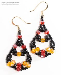 Fiesta Twin Bead and Crystal Earrings. Totorial on site About. Com. beadwork