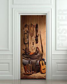 "Door STICKER cowboy storeroom  larder pantry lumber boxroom mural decole film self-adhesive poster 30""x79""(77x200 cm)"
