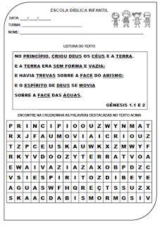 FORMAÇÃO INTEGRAL DA CRIANÇA À LUZ DA BÍBLIA: ATIVIDADE A CRIAÇÃO - GÊNESIS 1. 1 e 2 (CAÇA PALAV...