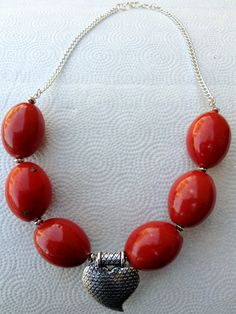 Chunky Red Porcelain with Large Antiqued Silver by BeriMadeJewelry, $15.00