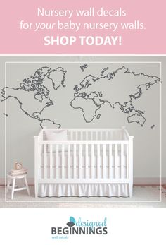 Girl name wall decals baby nursery decor baby wall decals nursery large world map outline wall decal db388 gumiabroncs Image collections