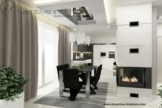Projekt jadalni Inventive Interiors - luksusowa jadalnia z betonem na kominku