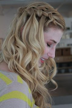 Easiest waterfall braid tutorial I've ever seen with hair products to use!!