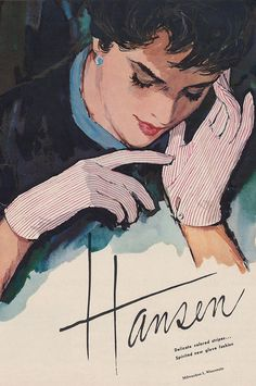 Delicate colored stripes...spirited new glove fashions from Hansen. #vintage #1950s #gloves #fashion #ad #illustration