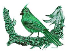Small birds in green ink