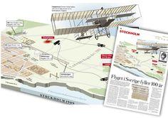 Flyget 100 år. #nyhetssgrafik #infografik och artikeltext. Dagens Nyheter.