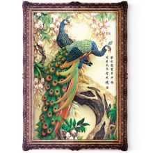 5D Peacock Diamond Embroidery Large DIY DIAMOND Painting Mountain Crystal Mosaic Home Decor 45 * 75cm (China)