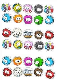 DISNEY CLUB PENGUIN PUFFLES EDIBLE RICE PAPER FAIRY CUPCAKE TOPPER BLUE X 30 in Crafts, Cake Decorating | eBay
