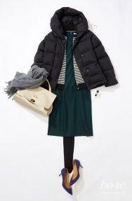 深いグリーンのワンピースなら、オフィスでも新年会でもすんなりなじんで素敵 Olive Clothing, Raincoat, Winter Jackets, My Style, Womens Fashion, Skirts, Clothes, Romantic, Fall