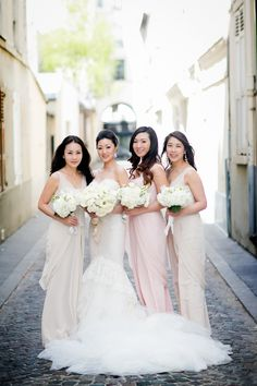 Pink and beige bridesmaids | Read More: http://www.stylemepretty.com/destination-weddings/2014/07/29/romantic-paris-wedding-at-four-seasons-george-v/ | Photography: Ethan Yang Photography - ethanyangphotography.com