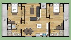 2 bed 2 bath floor plan - simple, little to no wasted space