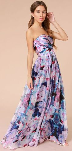 Purple Floral Print Maxi Dress