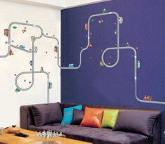 Cars room. Hey, I found this really awesome Etsy listing at http://www.etsy.com/listing/158203929/race-car-track-wall-decal-removable-for