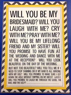 Perfect way to ask someone to be your maid of honor | weddings ...