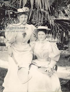 Sybil and Violet Seymour in tennis dress, early 1900s (sepia photo)