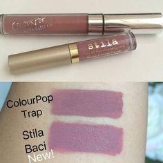 Baci is one of the new shades in the Stila Eternal Love Liquid Lipstick holiday set. It looks so similar to @colourpopcosmetics Trap!  Thank you for this amazing comparison @itsmecindys! by dupethat