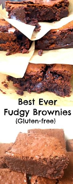 Best Ever Chocolate Fudge Brownies - Gluten-Free too! Dense crackly topped moist fudgy packed full of chocolate and just five ingredients! These are the Best Ever Chocolate Fudge Brownies! Gluten Free Cakes, Gluten Free Diet, Gluten Free Cooking, Gluten Free Recipes, Dairy Free Gluten Free Desserts, Easy Recipes, Gluten Free Christmas Recipes, Vegan Gluten Free Brownies, Gluten Free Party Food