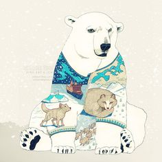 Polar Bear - fine art print surreal illustration drawing painting stylized imaginative fantasy wall decor #art #print #surreal