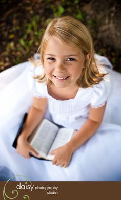 I love this picture with the girl reading her scriptures, I want to recreate this for Olivia's baptism invites Cute for first communion pic! Baptism Photography, Children Photography, Baptism Pictures, Baptism Ideas, Little Girl Pictures, Foto Fun, Baby Blessing, Foto Baby, Lds Church