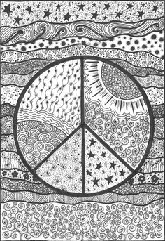 Peace! An original artwork by Cat Magness - ☮ Color it Yourself! Art psychedelic ☮