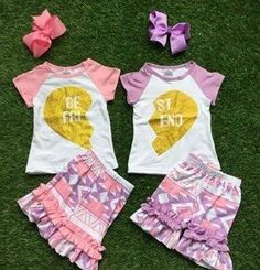 Pink Aztec Best Friends Shorts Set #boutique-outfits #clearance #daily-deal #daily-deals #new #newborn-clothing #newborn-sets #perfect-sets #spring-line
