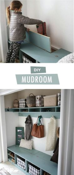 Add storage and style to your home with this DIY mudroom from Ana, of Ana White. Ana painted her coat and shoe rack with Marquee Interior paint in the BEHR 2018 Color of the Year: In The Moment. Then, she used Road Less-Traveled and Equilibrium from the BEHR 2018 Color Trends palette. Ana made use of every space in her closet turned mudroom, from the hidden storage bench to these wall hooks, from Liberty Hardware.
