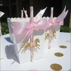 Pink And Gold Carousel Party Popcorn Favor Bo