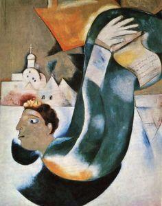 "Chagall, Pintor De Sonhos... ""O Santo Coachman"" (Le saint voiturier),1911/12. Óleo sobre tela 148 x 117,5 centímetros. Colecção Privada."