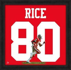 Featured is a Jerry Rice framed San Francisco 49ers jersey photo. This photo has been professionally framed and is approximately 20x20. **Note: This photo is not signed.**