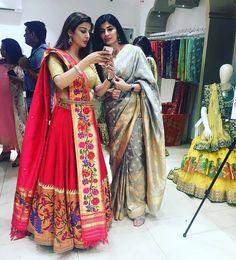 Paithani lahenga Half Saree Lehenga, Lehnga Dress, Saree Dress, Anarkali, Half Saree Designs, Sari Blouse Designs, Lehenga Designs, Indian Dress Up, Indian Gowns Dresses