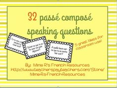 Want to get your students speaking in the passé composé?   This NO PREP activity using avoir and être verbs is always a favorite in my class. It can be used after learning the passé composé or as a back to school review for advancing students. There are 32 questions in all. #passécomposé #frenchspeaking #frenchactivities